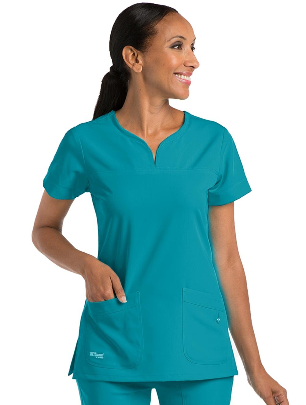 Grey's Anatomy ''Grey's Anatomy Signature' 2 Pocket Notch Neck Top' Scrub Top Teal XX-Small