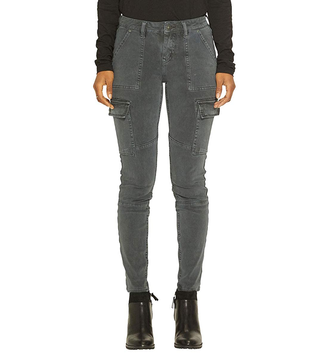 CHARCOAL Silver Jeans Womens Standard Mid Rise Skinny Cargo Jeans