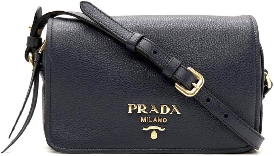 Prada Womens Vitello Phenix Shoulder Flap Navy Blue Leather Crossbody Bag 1BD163 (Navy Blue)