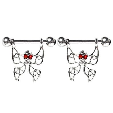 BODYA par, diseño de ala de mariposa de filigrana CZ Gem calavera con anillos de pezón escudo Barbell Acero 316L 14 G: Amazon.es: Joyería