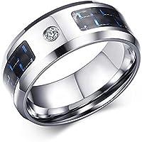 Rockyu ファッショアクセサリー チタン 指輪 メンズ リング ブラック リング ダイヤモンド ステンレス シンプル 指輪 ジルコニア おしゃれ キラキラ 幅広 8㎜