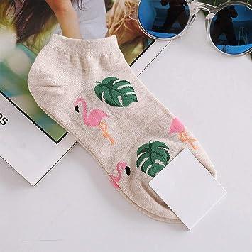 ZHANGJIANHUN Lindo Cactus Jacquard Imprimir patrón Fox Arte Calcetines Mujer Animal/Flamingos Tobilleras Funny Socks