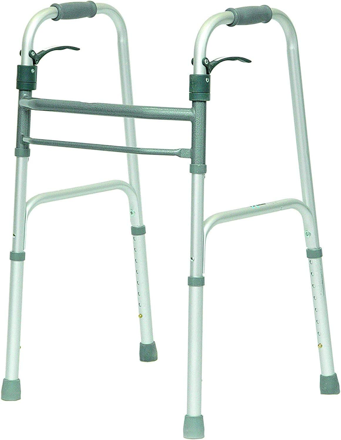 HEALTHLINE Walker Folding Deluxe 2 Button Without Wheels, Lightweight Foldable Mobility Walker No Wheels for Adult Seniors Disabled, Adjustable Height for Short, Average and Tall People: Health & Personal Care