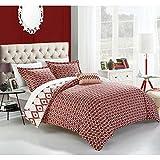 4pc Red White Geometric King Duvet Cover Set, Microfiber Polyester, Boho Chic Medallion Geometrical Southwest Contemporary Trendy Sleek, Ikat Jacquard Theme Diamond Pattern Bedding