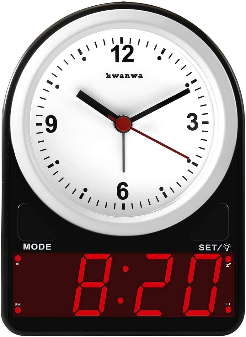 KWANWA Small Battery Operated Alarm Clock with Automatic Light Sensor LED Table Clock for Bedrooms – Snooze, Ascending Alarm, Easy Operation