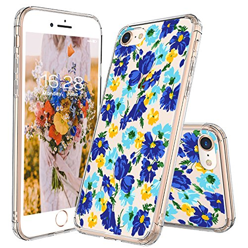 size 40 15915 939b9 MOSNOVO iPhone 8 Case, iPhone 7 Case, Bluish Flowers Floral Clear Design  Printed Plastic Hard Back Phone Case with TPU Bumper Protective Case Cover  ...