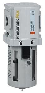 "PneumaticPlus PPF2-N02B Miniature Compressed Air Particulate Filter 1/4"" NPT - 5 Micron, Poly Bowl, Manual Drain, Bracket"