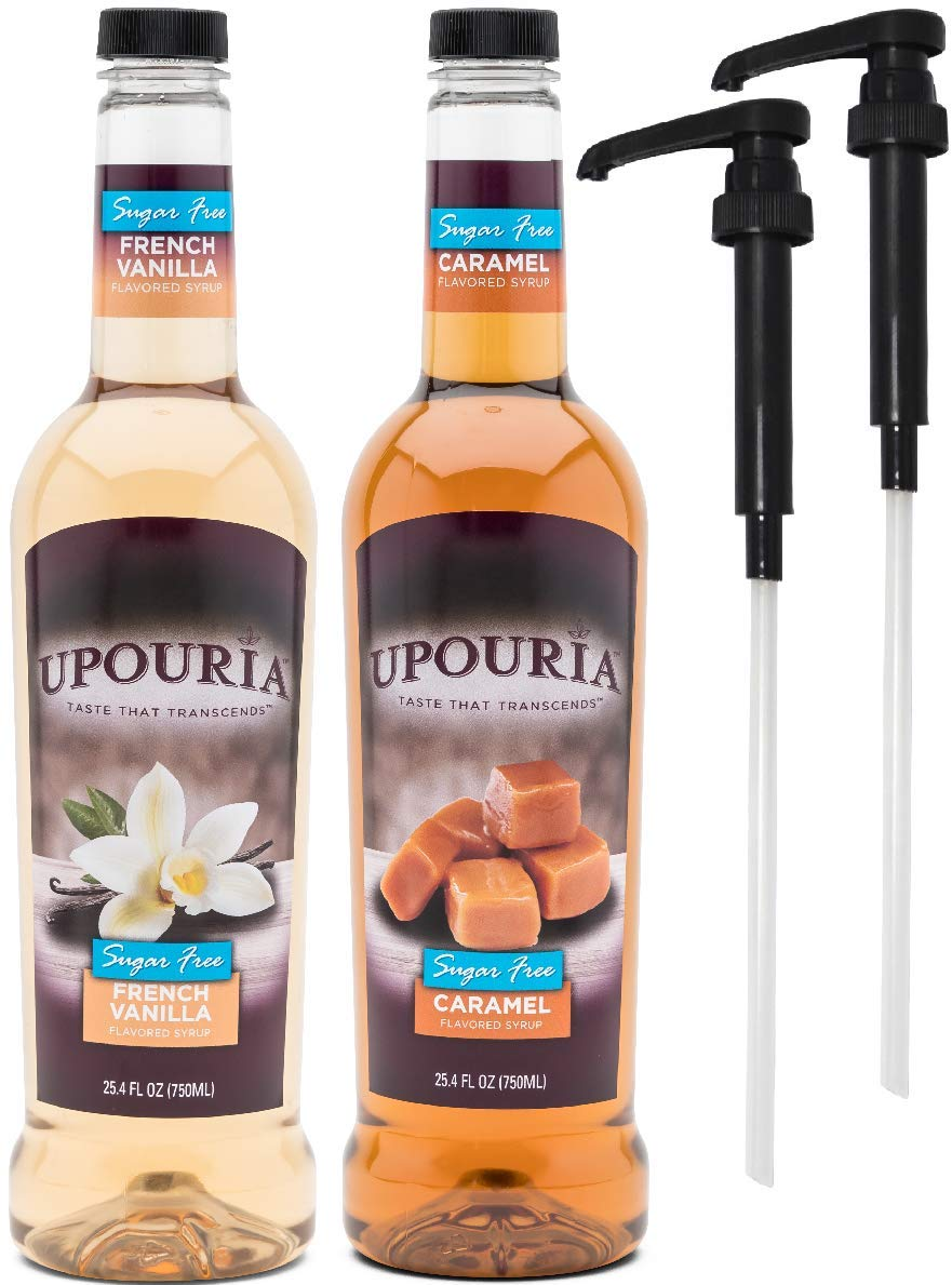Upouria Skinny Syrup Sugar Free Coffee Syrup Variety Pack - French Vanilla and Caramel Flavoring, 100% Gluten Free, Vegan, and Non Dairy 750 mL Bottle - 2 Coffee Syrup Pumps Included
