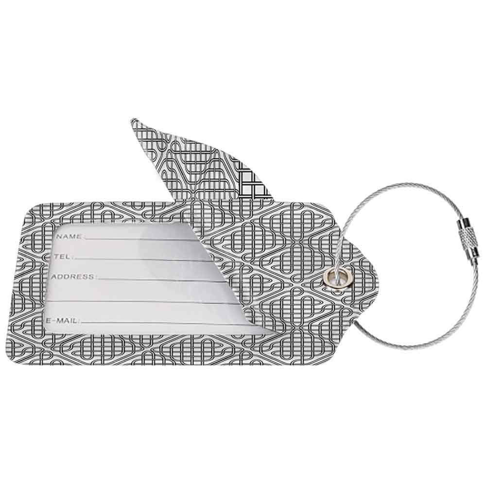 Printed luggage tag Celtic Decor Medieval Irish Striped Binding Square Shaped Patterns Old Fashion Dated Artsy Grid Print Protect personal privacy Black White W2.7 x L4.6
