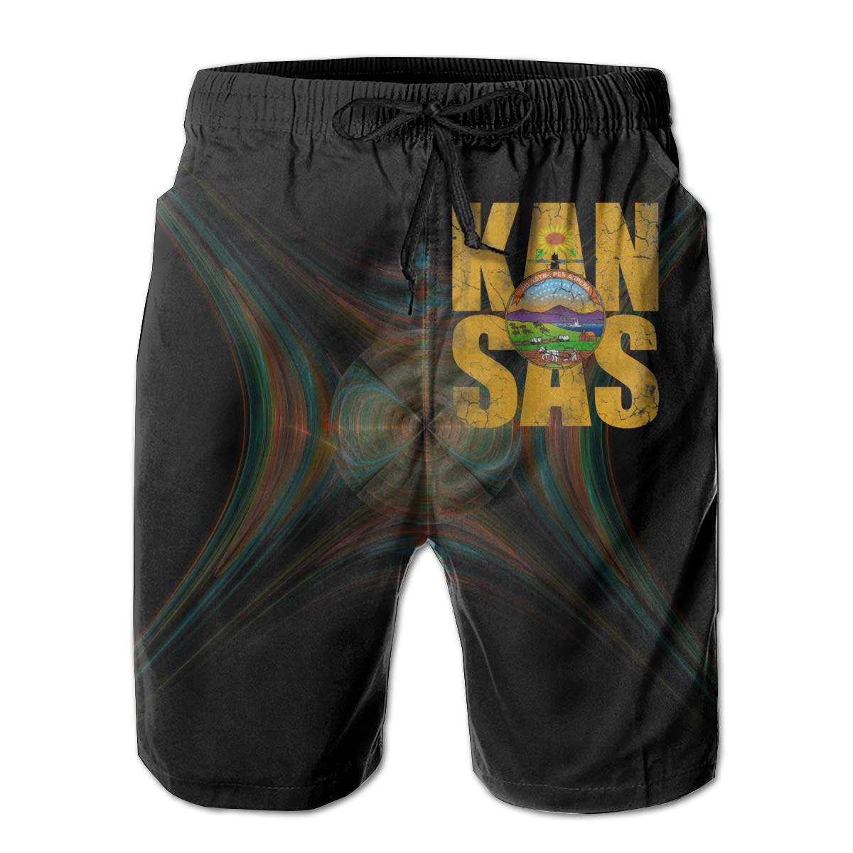 Kansas Flag 3D Print Mens Beach Shorts Swim Trunks Workout Shorts Summer Shorts