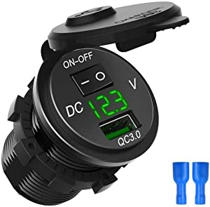 ZYTC Waterproof QC3.0 Car Charger USB Outlet Socket 12V/24V Green LED Digital Voltmeter with On/Off Switch for Car Boat Motorcycle Marine