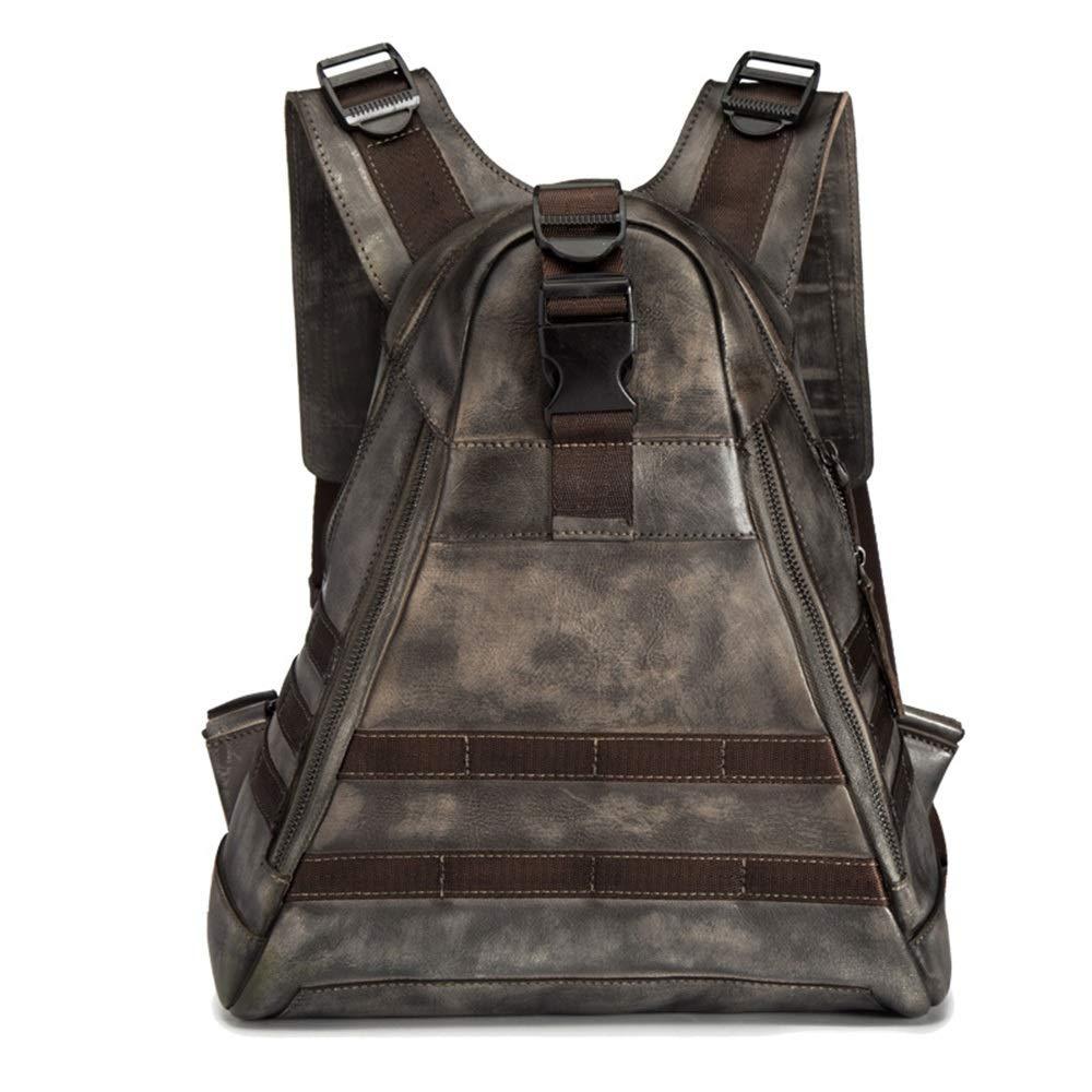 実用的 男性パーソナライズバックパック/スクールブラウンレジャートラベルバックパック/アウトドアレジャーレザーショルダーバッグ (色 : 褐色) 褐色