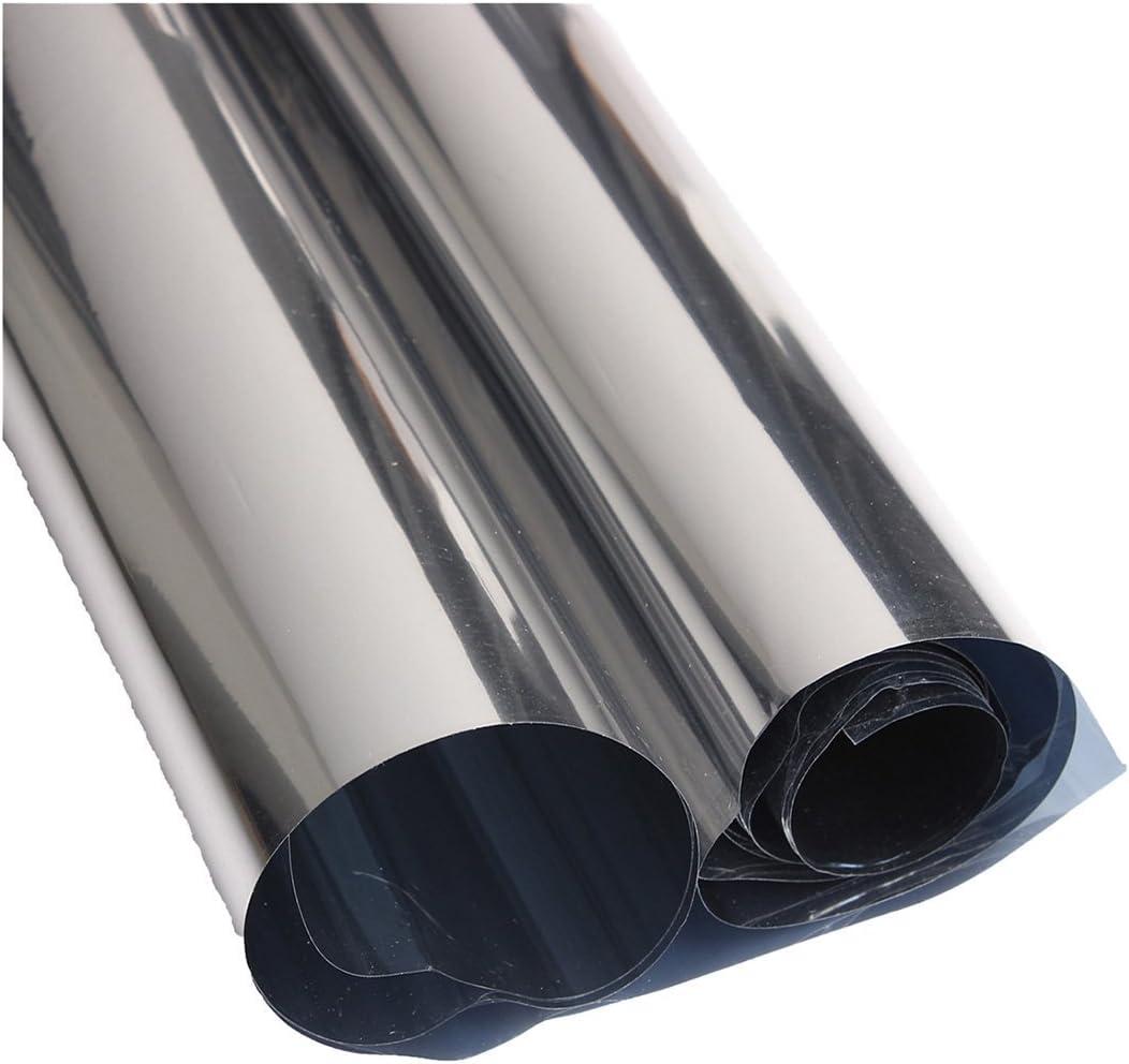 Pelicula para ventanas - TOOGOO(R) 2M Plata Papel pelicula de ventana reflectante solar Pegatinas del aislamiento Espejo de una direccion