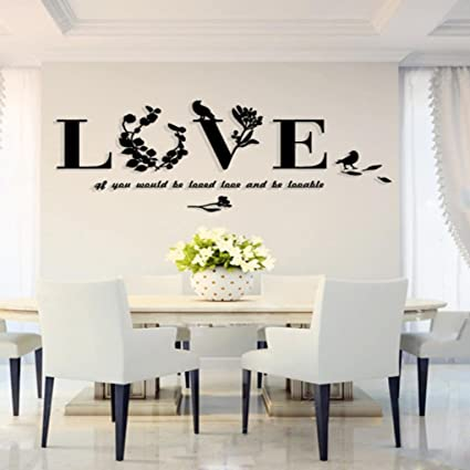 Highpot 3d Leaf Love Wall Sticker Art Vinyl Decals Sofa Bedroom Mural Decor Easy To Peel Easy To Stick Safe On Painted Walls A