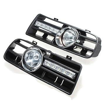 TOOGOO 2 X Luz LED de parachoque Luces antiniebla Faros Delanteros para 97-06 VW Golf 4 MK4 IV Negro: Amazon.es: Coche y moto