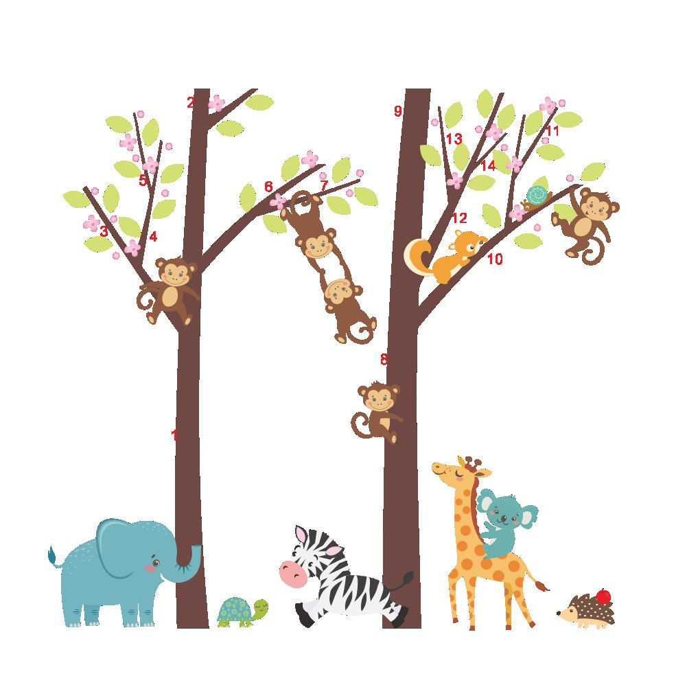 Woodland Arts 3 feet x 3 feet Jungle Wild Elephant Monkeys Zebra Giraffe Trees Zoo Animal Removable Vinyl Wall Decals Stickers for Children Room Nursery