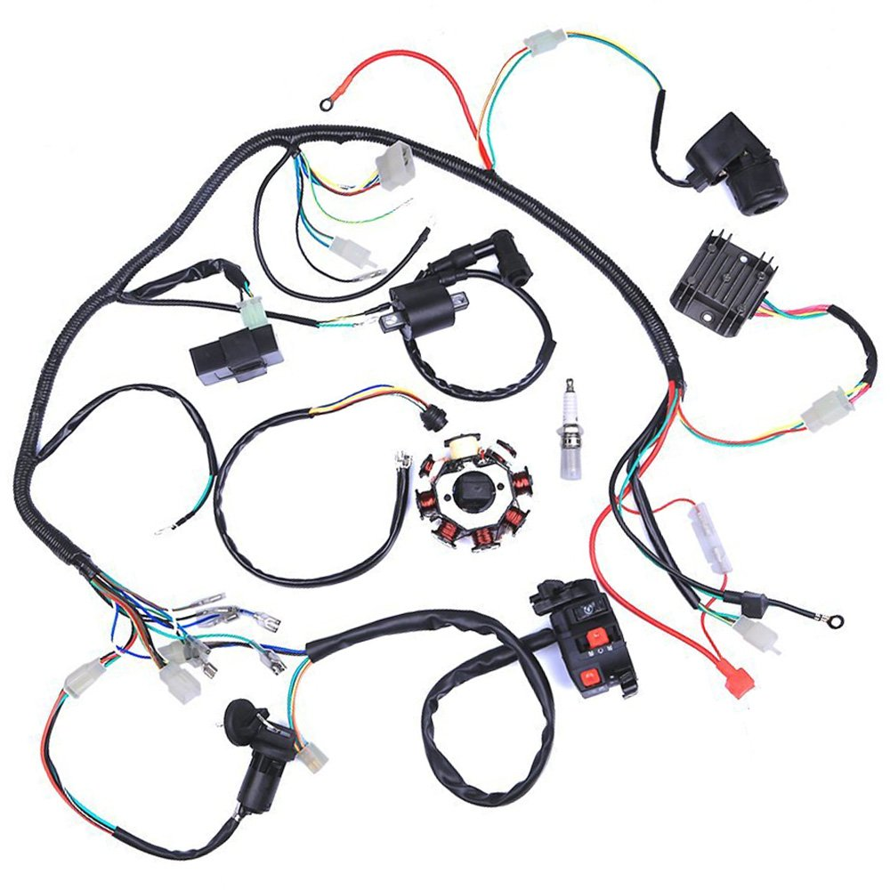 Wiring Harness Kit Wire Loom Complete Electrics Stator Chinese Atv Coil Cdi For 150cc 300cc Quad 4 Four Wheelers Go Kart Dirt Pit Bikes 2 Fixing