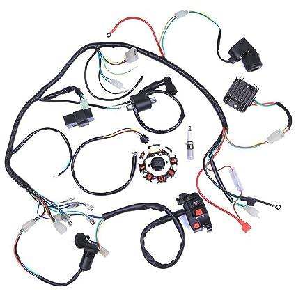 amazon com wiring harness kit wire loom complete electrics statoramazon com wiring harness kit wire loom complete electrics stator coil cdi for 150cc 300cc atv quad 4 four wheelers go kart dirt pit bikes (2 fixing