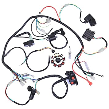 amazon com wiring harness kit wire loom complete electrics wiring harness kit wire loom complete electrics stator coil cdi for 150cc 300cc atv