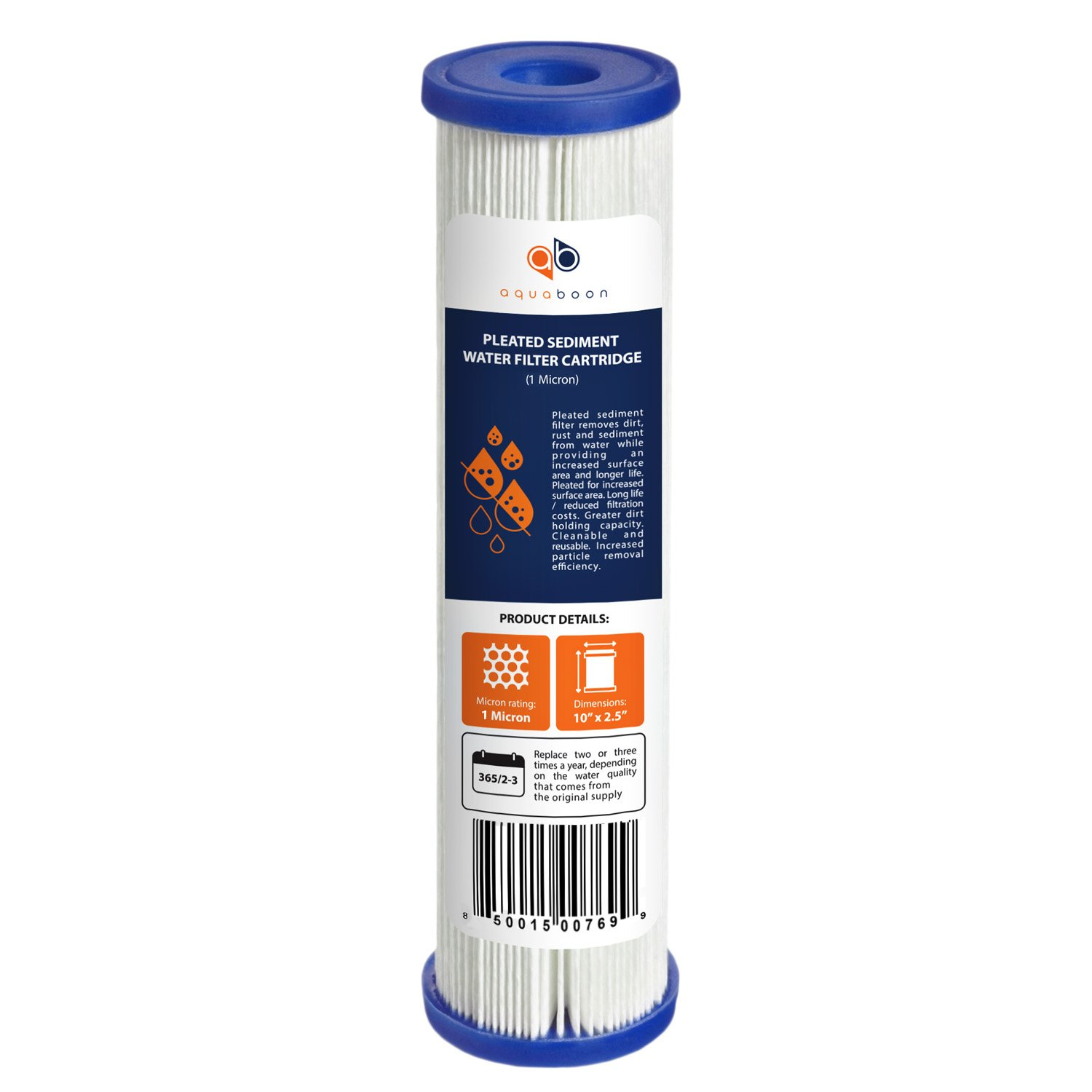 """Aquaboon 1 Micron 10"""" x 2.5"""" Pleated Sediment Water Filter Cartridge   Universal Replacement for Any 10 inch RO Unit   Compatible with R50, 801-50, WFPFC3002, WB-50W, SPC-25-1050, WHKF-WHPL, 1-Pack"""