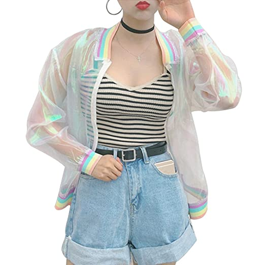 adf17523924 Image Unavailable. Image not available for. Color  angel3292 Iridescent  Transparent Jacket Holography Rainbow Sheer Tumblr Grunge 90s