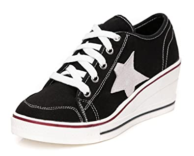 Ladies Girls Canvas High Top Wedge Trainers Lace Up Sneakers Pumps Skaters Size