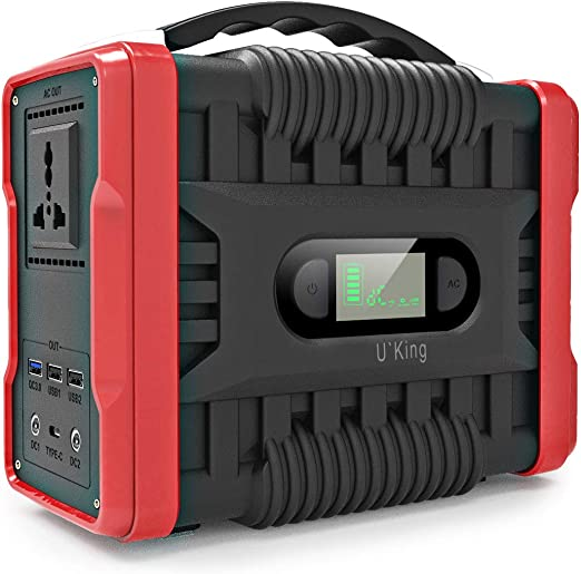 UKing 222Wh / 60000mAh Generador de Energía Generador Portátil Solar con Inversor DC/AC Cargado por el Panel Solar/Toma de Pared Camping al Aire Libre ...