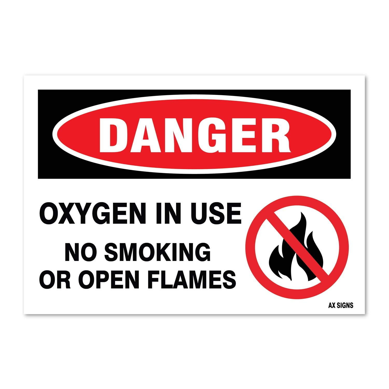 "Danger: Oxygen in Use No Smoking, 3.5"" high x 5"" wide, Black/Red on White, Self Adhesive Vinyl Sticker, Indoor and Outdoor Use, Rust Free, UV Protected, Waterproof"