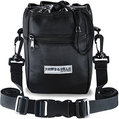Paws & Pals Dog Treat Training Pouch Bag – Holds Pet Toys, Kibble & Treats – Built-in Poop Bag Dispenser – 3 Ways to Wear – Black