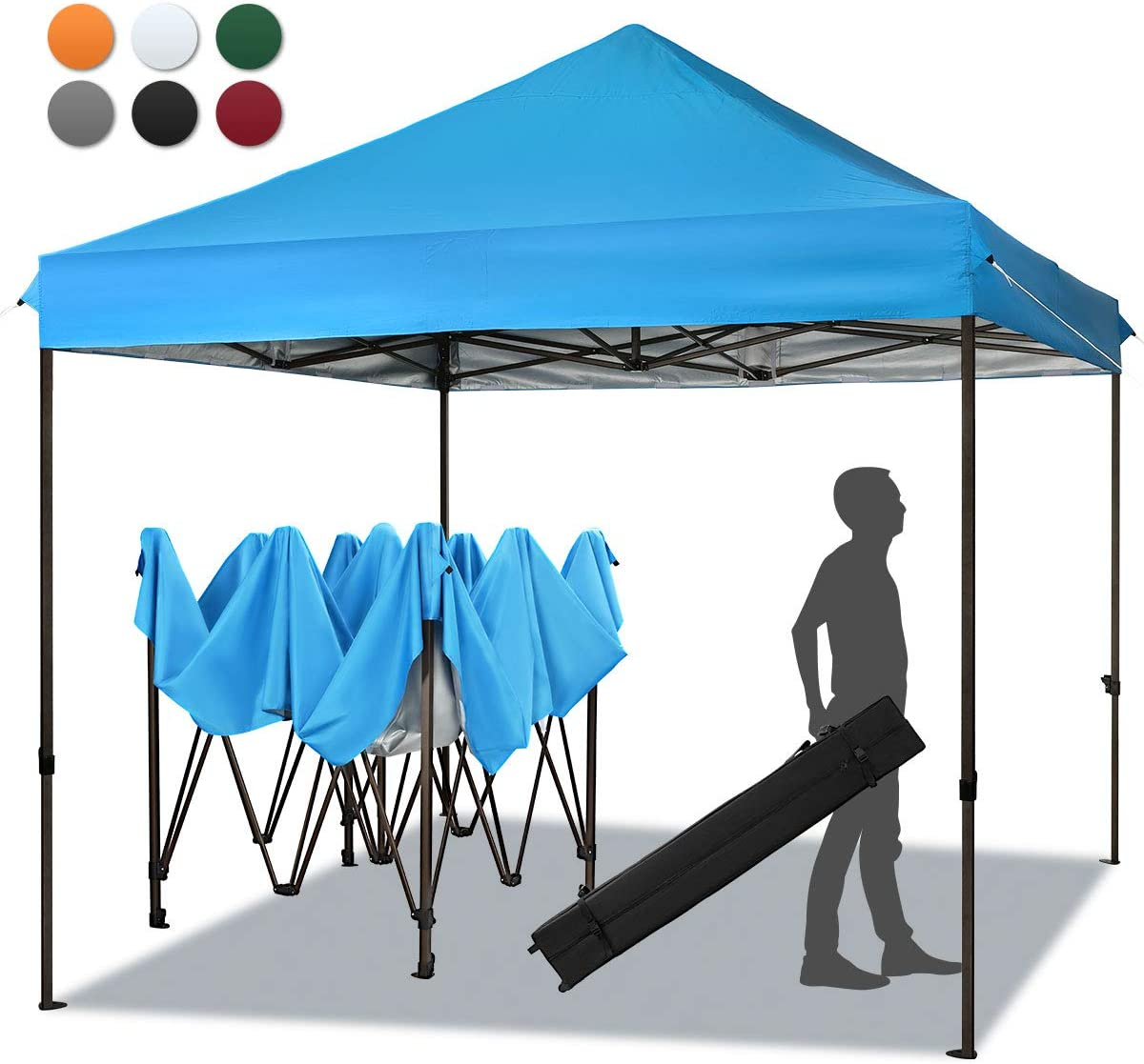 MEWAY 10ft Patio Awning Garden Shade Commercial Ez Pop Up Canopy Tent Instant Canopy Party Tent Sun Shelter