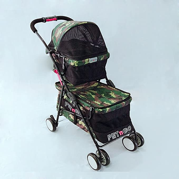 Amazon.com : Pet Supplies YXGH Double Layer Large Pet Stroller Four-wheeled Pet Car Lightweight Extremely Fast Folding Dog and Cat Trolley Travel Goods Gear ...