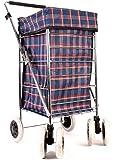 Alexander Graham Einkaufstrolley - 6 Große Räder Herausnehmbare Tasche - Blau-Rot Kariert