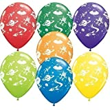 "Aliens & Space Ships Qualatex Latex 11"" Balloons x 5"