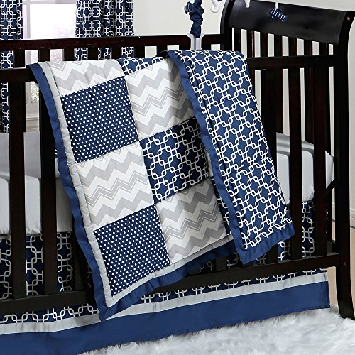 Navy Blue and Grey Geometric Patchwork 3 Piece Crib Bedding by The Peanut ()