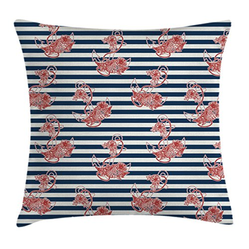 Ocean Throw Pillow Cushion Cover by Ambesonne, Floral Anchor
