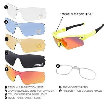 4aaca971bc JJH-ENTER Paseo Gafas al aire libre Alpinismo Gafas Arena a prueba de viento  sol movimiento Gafas bicicleta Luz polarizada gafas , yellow fluorescent:  ...