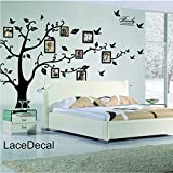 Large Family Tree Wall Decal. Peel & stick vinyl sheet, easy to install & apply history decor mural for home, bedroom stencil decoration. DIY Photo Gallery Frame Decor Sticker By LaceDecaL