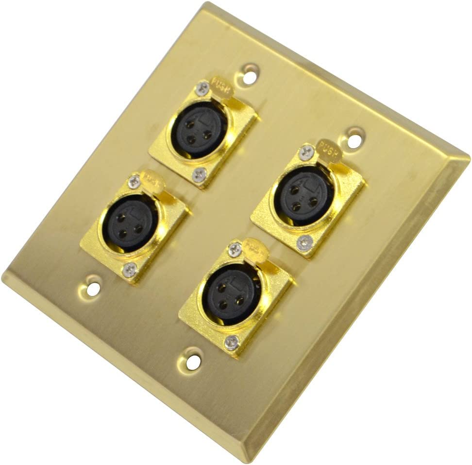 Seismic Audio SA-PLATE19 Gold Stainless Steel 2 Gang XLR Female Wall Plate with 4 XLR Female Connectors