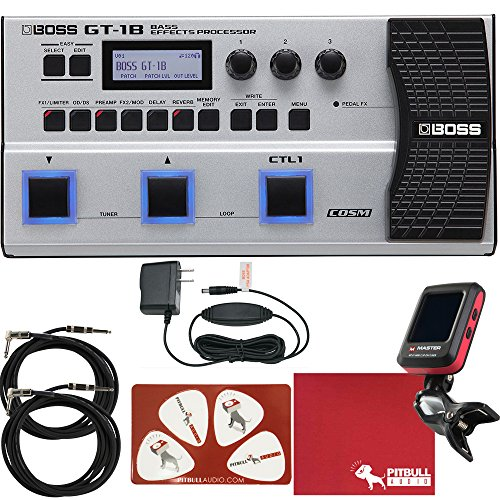 BOSS GT-1B Bass Effects Processor with Power Adapter, Cables, Tuner, Polish Cloth, Picks
