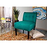 MJL Furniture Designs Samantha Collection Fabric Upholstered Button Tufted Living Room Accent Guest Chair, Lucky Series, Turquoise For Sale