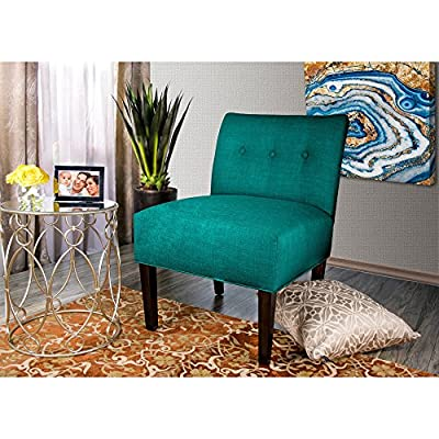 """MJL Furniture Designs Samantha Collection Fabric Upholstered Button Tufted Living Room Accent Guest Chair, Lucky Series, Turquoise - A VERITABLE THRONE: Each Accent Living Room Chair Measures 27""""L x 24""""W x 35""""H and Weighs 21 LBS. Leg Assembly is Required Upon Delivery of Chair. UNYIELDING CONSTRUCTION: These Living Room Chairs are Carefully Constructed of Sturdy and Unyielding Wood, Resulting in a Generous 250 LB Chair Weight Capacity. EXQUISITE AND ELEGANT: The Lucky Accent Chair Features an Exquisite Fabric Upholstery of 100% Polyester. The Chairs are Further Adorned With an Elegant, Button Tufted Back. - living-room-furniture, living-room, accent-chairs - 61In bdsNML. SS400  -"""