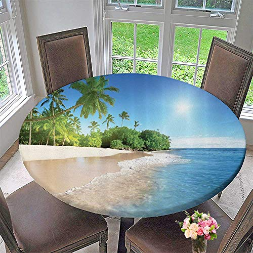 Mikihome Circular Table Cover Tropical Palm Trees Sunny Island ACH Panoramic Bathroom 47.5