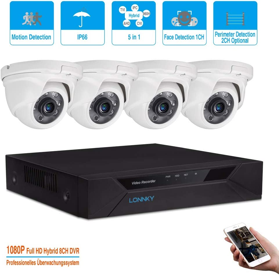 LONNKY 8CH Full HD 1080P 5-in-1 DVR Security Camera System with 4PCS TVI Waterproof 2.0MP 80ft Night Vision Security Camera Suppport Intelligent Face Detection, Motion Detection,APP, NO HDD Included