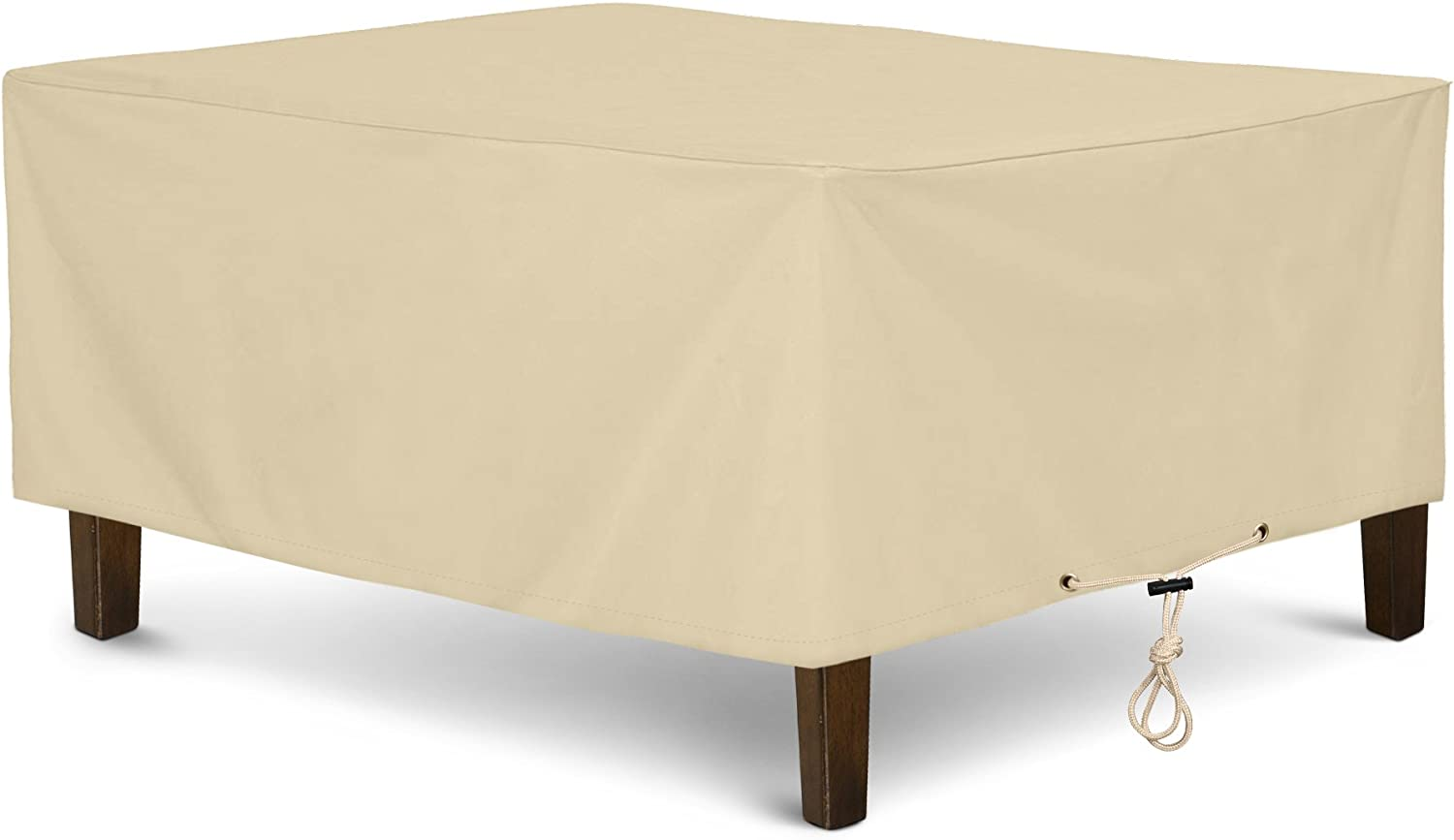 """SunPatio Outdoor Ottoman Cover, Rectangular Coffee Table Cover, Heavy Duty Waterproof Patio Furniture Side Table Cover, All Weather Protection, 40"""" L x 30"""" W x 18"""" H, Beige"""