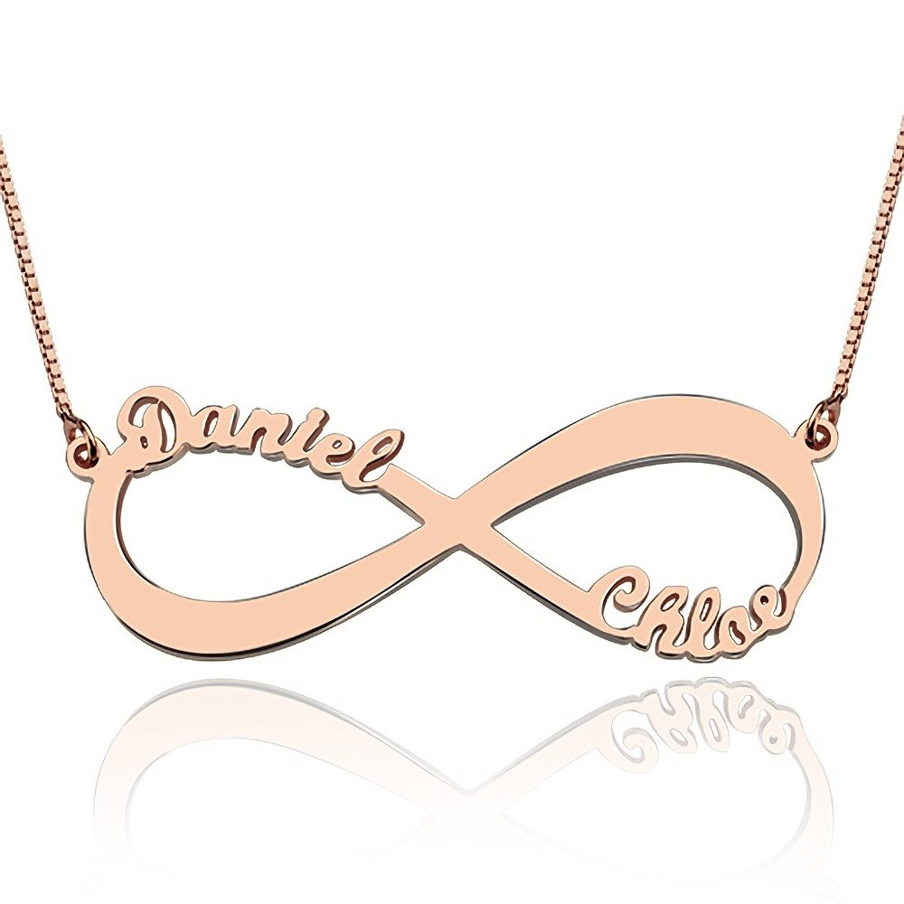 Zoungh Personalized Name Infinity Necklace Eternal Love Pendant Custom with Any 2 Names Necklace Jewelry Rose Gold Gold Sterling Silver