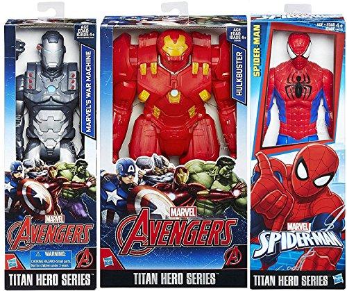 "Marvel 3-Pack Armored Figures Hulkbuster / Avengers War Machine + Spider-Man Classic / Pack Titan Hero Series Marvel 12"" Super Hero Action Big Figure Set"