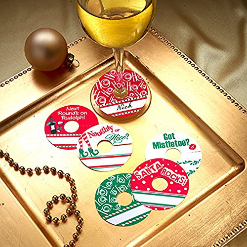 Christmas-Party-Personalized-Wine-Glass-Tags-HOLIDAY-JINGLES-Set-of-24