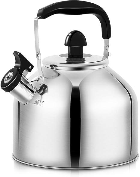2.5QT//4QT//6QT M-MAX Stainless Steel Tea Kettle Stovetop Whistling Teakettle Teapot with Ergonomic Handle 4 L