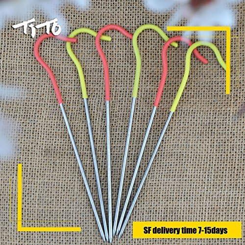 Tito titanio pastor gancho de estacas para tienda de campa/ña tienda de campa/ña pegs clavijas de u/ñas con fluorescente cabeza 3.0/mm de di/ámetro y longitud 165/mm s/ólo 6,7/G Pack de 6