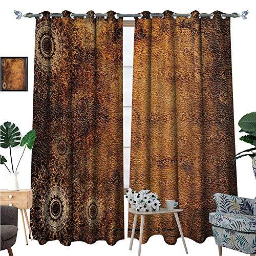 Tan Room Darkening Wide Curtains Aged Old Texture Print Artistic Floral Motifs Vintage Upholstery Concept Decor Curtains by W84 x L108 Brown Pale Brown Tan (Upholstery Ashton)